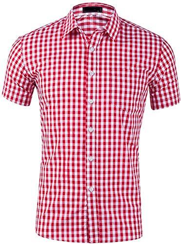 Evelure Camisa Hombre Manga Corta a Cuadros Multicolores Botón Bolsillo Casual (Rojo,L)