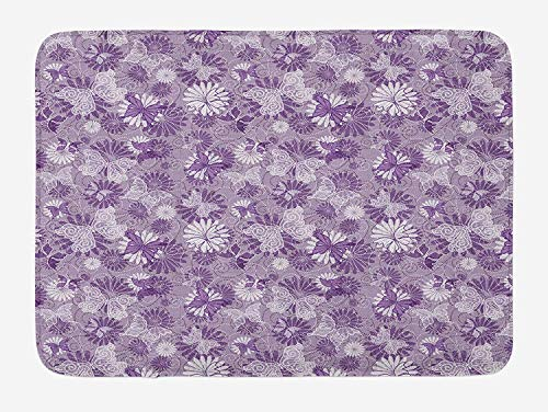 Violet Bath Mat, Rich Natural Harmony Pattern with Dotted Swirls Blossoms and Butterflies, Plush Bathroom Decor Mat with Non Slip Backing, 23.6 W X 15.7 W inches, Mauve Violet White
