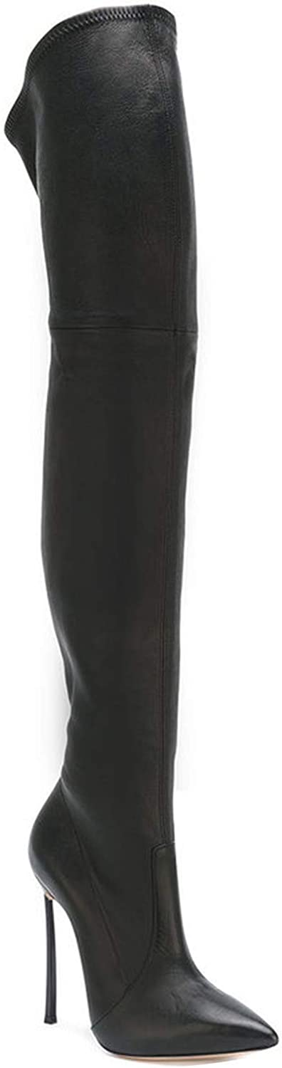 Meet- fashion Boots Boots Long Pointed Leather Elastic PU Repair Legs Knee Boots Women shoes
