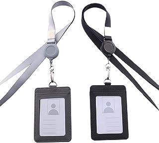 2 Pièces Porte Badge, Badges D'Identification, Porte Badges Verticaux, Porte Badge avec Yoyo et Cordon Rétractable, pour B...