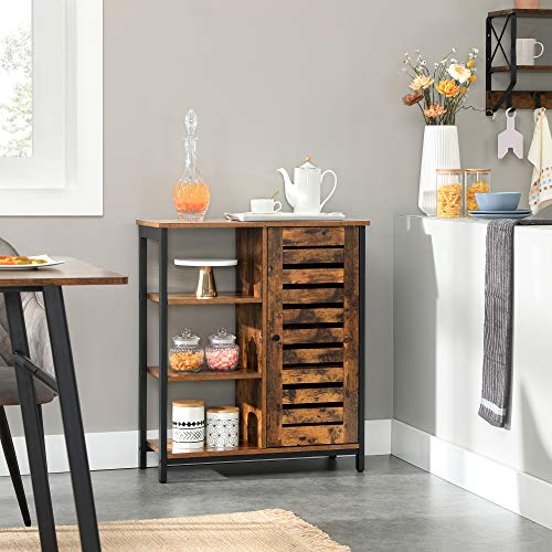 VASAGLE LOWELL Storage Cabinet, Cupboard, Multipurpose Cabinet, 3 Open Shelves and Closed Compartments, for Kitchen, Living Room, Bedroom, Industrial, Rustic Brown and Black ULSC74BX