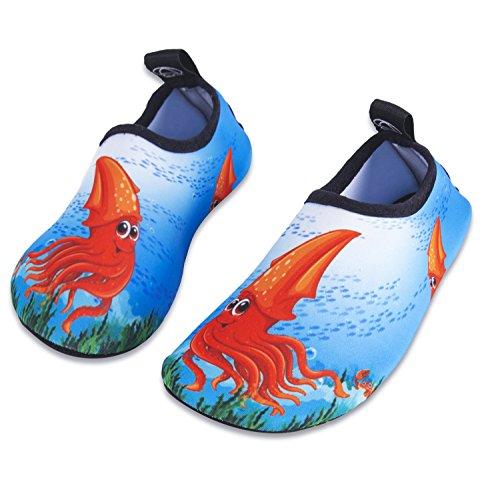 HMIYA Kinder Badeschuhe Wasserschuhe Strandschuhe Schwimmschuhe Aquaschuhe Surfschuhe Barfuss Schuh für Jungen Mädchen Kleinkind Beach Pool(Blau Hwz,20/21)
