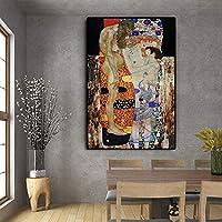 グスタフクリムトの女性の三時代キャンバス絵画ポスターとプリントリビングルームの家の装飾のための壁の芸術の写真60x90cmフレームレス