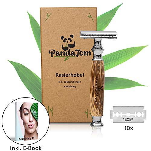 PandaTom Rasierhobel Damen & Herren mit Bambus-Griff | Nassrasierer mit 10 Rasierklingen | Hochwertig & Sanft | Safety Razor Geschlossener Kamm | Nachhaltig Plastikfrei