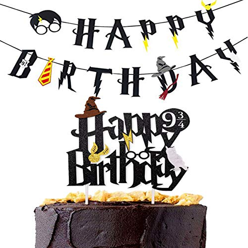 Magic Party Banner, 2pcs Happy Birthday Banner with Cake Topper Garland Party Decoration Wizard Party Supplies Potter Themed Party