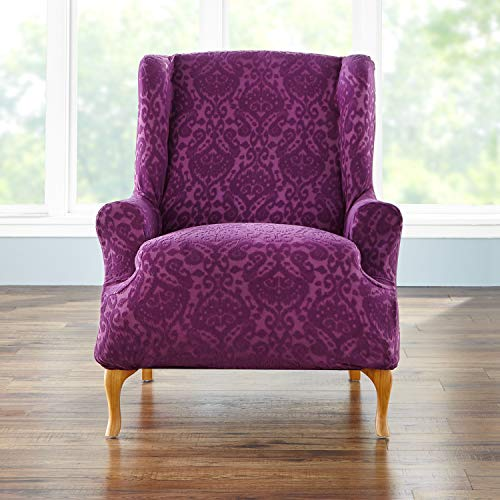 BrylaneHome BH Studio Ikat Stretch Wing Chair Slipcover, Plum