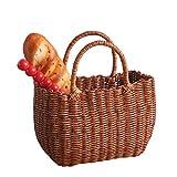 Vigcebit Cesta de pícnic hecha a mano de imitación de ratán tejido, cesta de la compra con asas, para picnics, fiestas y barbacoas