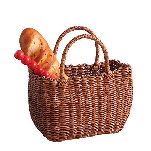 Wustrious Handwoven Palm Tote Basket with Handles, Oval Willow Woven Picnic Basket, Artistic Handbags Ideal for Shopping, Market, Picnic, Bag Summer Beach Bag