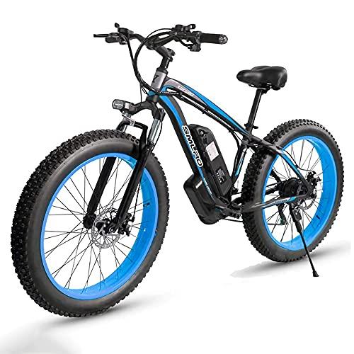 26 Zoll E-Bike Mountainbike, mit Hinterradmotor 1000W 48V | 85 Nm | 13AH Abnehmbare Lithium-Batterie | Professionelle Shimano 21-Gang-gänge, EU Warehouse,Blue