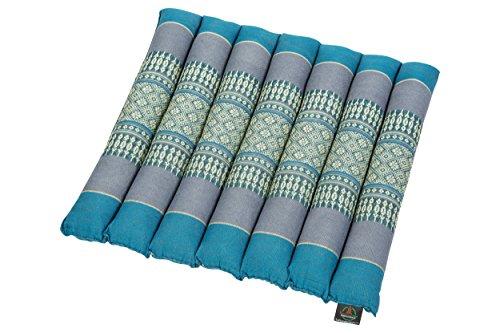 Handelsturm Thai Sitzkissen ca. 38x40 Thaikissen Sitz mit Füllung aus Kapok Feste Auflage Thaimuster hellblau