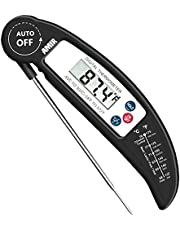 AMIR Digital Meat Thermometer, Instant Read Cooking Thermometer, Electronic Meat Thermometer With Probe for Kitchen, BBQ, Poultry, Grill Food & Candy- Fordable, Fast & Auto On/Off (Black)