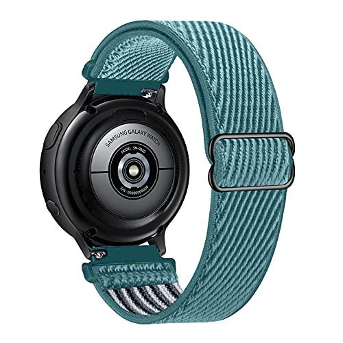 Lobnhot 20mm Solo Loop Compatible con Correa de Reloj de Samsung Galaxy Watch Active 2(40mm/44mm)/Watch 3 41mm/Watch 42mm/Gear S2, Nylon Elástico Ajustables (20mm-Cerceta Celestial)