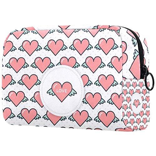 Bolsa de aseo con diseño de corazones voladores y accesorios de maquillaje,...