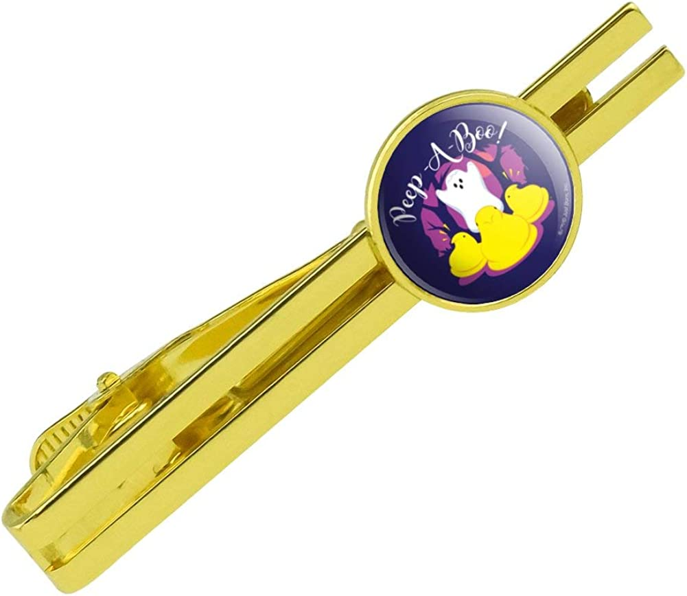 GRAPHICS & MORE Peep A Boo Ghost Halloween Round Tie Bar Clip Clasp Tack Gold Color Plated