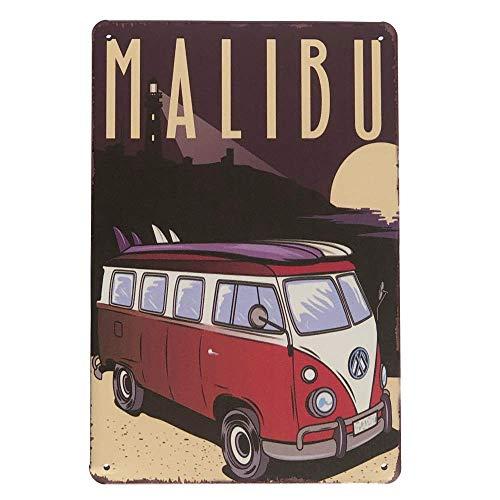 HOGARO Home & Kitchen® Retro Vintage Blechschild 20 x 30 cm Malibu Surf Bulli Nostalgie Diner Metallschild Schild Deko Schilder USA Beach