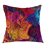 oFloral Chaotic Waves Pillowcase,Colorful Rainbow with Purple Fuchsia Pink Red Orange Gold Blue Throw Pillow Cover Square Cushion Case for Sofa Couch Car Bed Home Decorative 18' x 18' inch