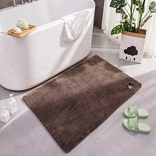 KINLO 50 x 80 cm rutschfeste, Hochflor Badteppiche Maschinenwaschbare Badezimmerteppich, Badvorleger mit Wasserabsorbierenden, Badematte für Dusche, Badewanne und Badezimmer -Braun