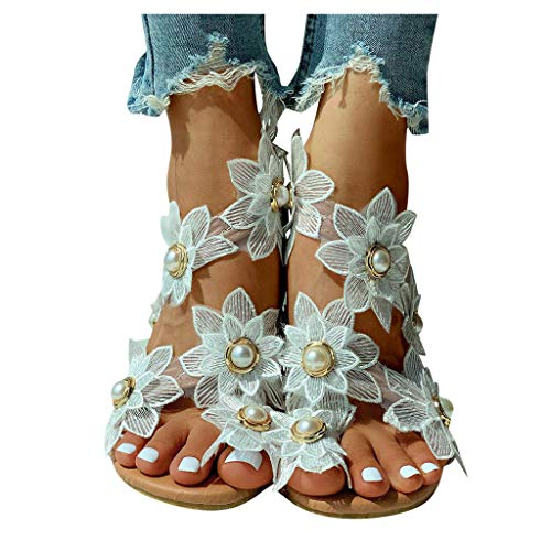 Aniywn Women's Ring Toe Loop Slide Flat Sandals Floral Pearls Bohemia Strappy Summer Beach Boho Casual Shoes White