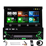 EinCar Car Stereo with Bluetooth Single din Radio 7 Inch Touch Screen GPS Navigation Head Unit in Dash 1 Din CD DVD Player Support AM FM Reciever Steering Wheel Control USB/SD with 8GB Map Card