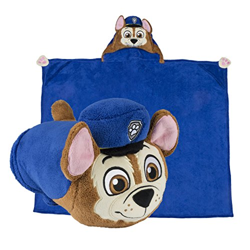 Comfy Critters Stuffed Animal Blanket – PAW Patrol Chase – Kids Huggable Pillow and Blanket Perfect for Pretend Play, Travel, nap time.