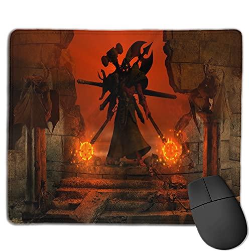 Gaming Mouse Pad Benutzerdefiniert,Ein mächtiger Barbarencharakter, der zwischen alten Ruinen steht, die zwei Morgenster,Office Rectangle rutschfeste Gummi-Mauspad für Computer Laptop 9.8