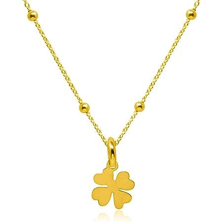 WANDA PLATA Collar con Colgante Trébol de Cuatro Hojas para Mujer en Plata de Ley 925 con Baño de Oro, Gargantilla, Choker …