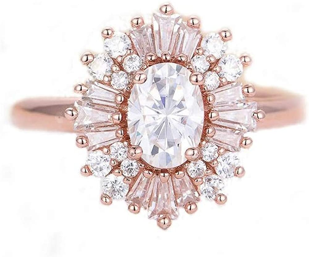 Women Rings Statement Cocktail Ring for Womens Vintage Style Starburst Sunburst Ring   Unique Design Rose Gold Plated Cubic Zirconia Fashion Jewelry