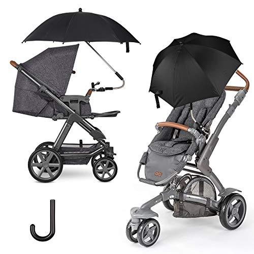 FREESOO Universal Sonnenschirm Sonnenschutz für Kinderwagen & Buggy - UV Schutz UPF50+ 75CM Sonnenschirm 360° verstellbar für Rund- oder Ovalrohr Regenschirm Kinderwagen Biegsamer Schirm Schwarz