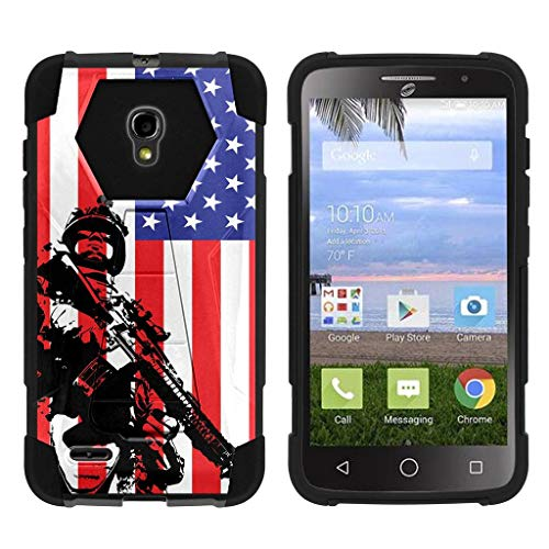 TurtleArmor | Compatible with Alcatel One Touch Pop Icon 2 Case [Dynamic Shell] Impact Cover Hard Kickstand Hybrid Shock Fitted Silicone Military War Robot Android - American Soldier