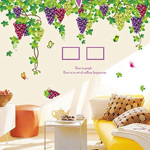 Wallpark Grand Violet Grain de Raisin Vigne avec Papillon Amovible Stickers Muraux Autocollants, Salon Chambre Maison DIY Décoratif Adhésif Stickers Mural