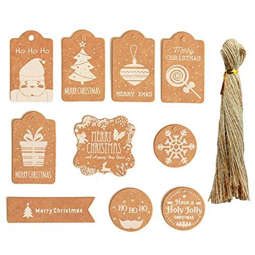 BuleEco 50Pcs Weihnachtskraftpapier Geschenkanhänger Hängen Etiketten DIY Hängen Tags Geschenkverpackung Dekor Geschenkkarte Weihnachtszubehör