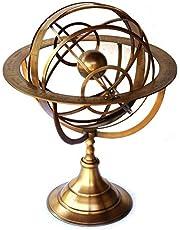 Globo de latón con esfera armilar, esfera náutica funcional para jardín grabado celestial globo armilar interior/exterior