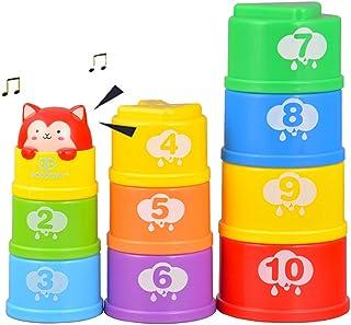Ahua - Juego de 10 vasos apilables para bebés con sonido y luz, apilables con números y geometría en forma de juguetes de educación temprana para niños, niños, niños, niñas