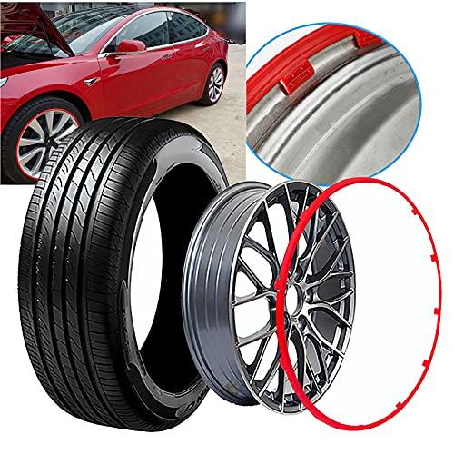 Protectores de Rueda Hub Llantas - para Tesla Model 3 (16-20Inch / 4pcs), Protección de la Rueda Anillo de Neumáticos Guardia/Universal Resistente a los arañazos STRI,Red-19in