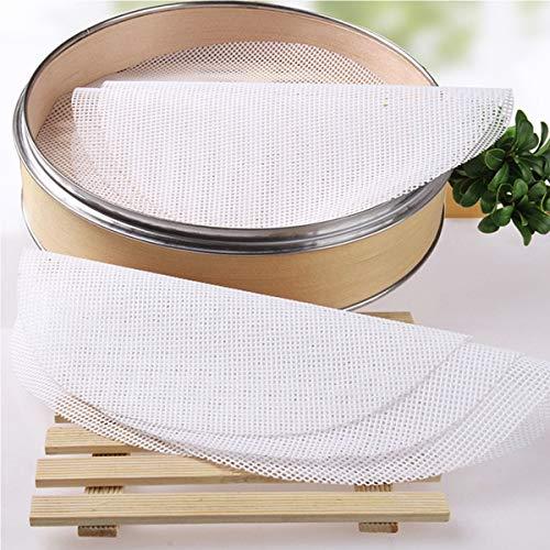 DBAILY 20 Piezas Redondo Silicona Ecológica Vaporera Pad Antiadherente Dumpling Dim Sum Vaporera Papeles Silicona Vaporera Malla para el Vapor de Bambú Reutilizable Flexible Antiadherente (26cm)