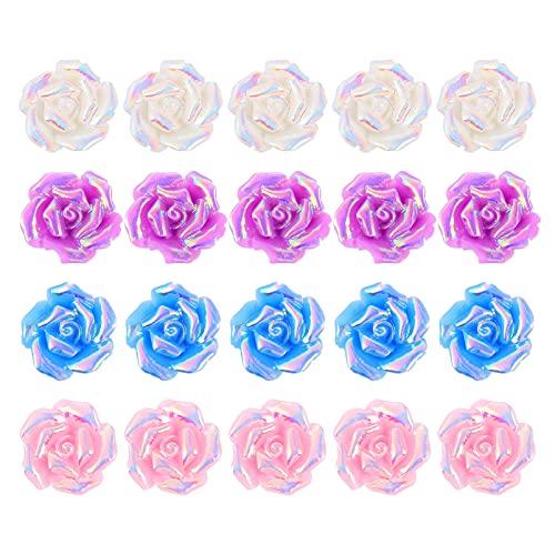 SOIMISS Flores de Rosa para DIY Tocado de Flores Diademas Clips Decoración de La Boda de Rosas Apliques para El Cabello Artesanales Botones de Rosas de Colores Abalorios Bandas para El