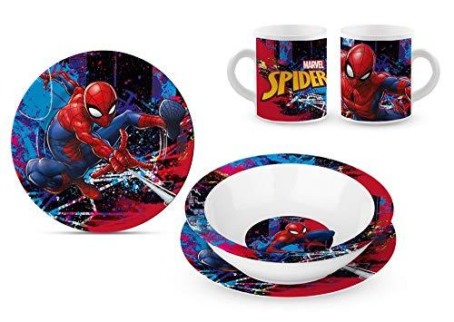 Star Licensing Spiderman Set repas en céramique – Assiettes et tasse Marvel