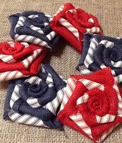 Patriotic Set of SIX Burlap Flowers 3.5