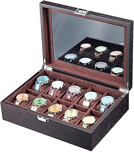 ZHENAO Organizador de caja de reloj negro, 10 ranuras para hombres, gabinete de visualización de reloj con ventana de cristal grande, forro SOFE