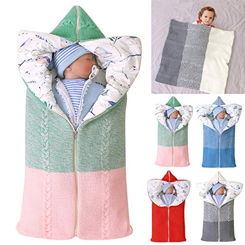 Yinuoday Kinderwagen Decke, Neugeborenen Wickeldecke Winter warme Schlafsack für 0-12 Monate Baby Jungen oder Mädchen (Grün- Rosa)