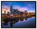 Pixxprint Nashville Skyline Panorama Leinwandbild 80x60 cm