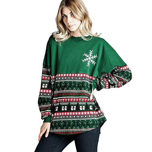 OverDose Damen Frohe Weihnachten Frauen Schneeflocke O Neck Tops Langarm Sweatshirt Pullover Bluse Tops Outdoor Schnee Karneval Party Bar Mode Outwear(Grün,36 DE/M CN )