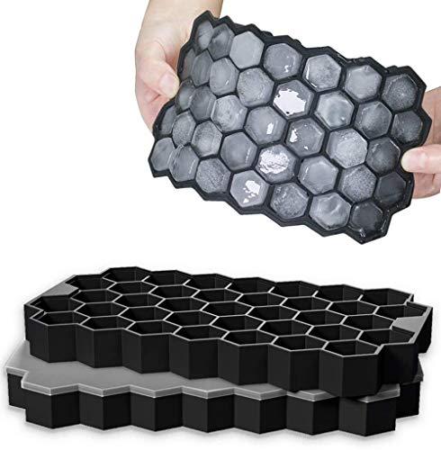 Eiswürfelformen mit Deckel, 37 Fach 2 Stück Eiswürfelbehälter aus Silikon, FDA Zertifizierte Eiswürfelformen und BPA Frei, Ice Cube Tray Bier, Whisky, Fruchteiswürfel