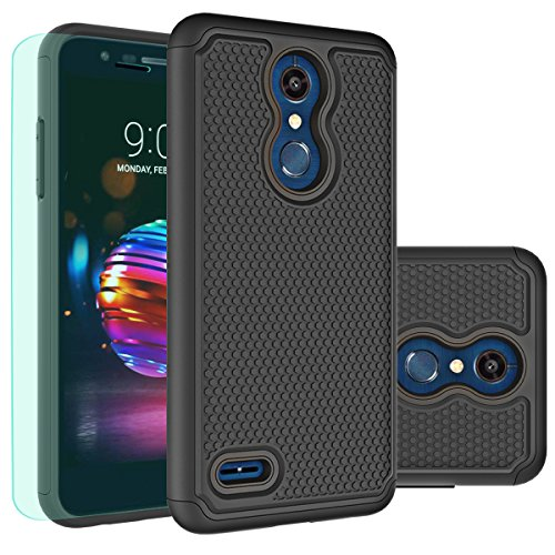 Huness LG K30 Case,LG K10 2018 Case with HD Screen Protector Durable Armor and Resilient Shock Absorption Case Cover for LG K10 2018,LG K30 Phone (Black)