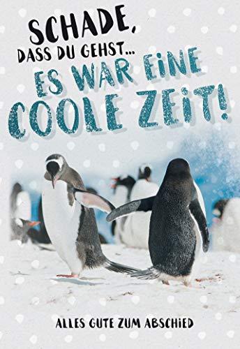 Abschied - Abschied Kollege - Klappkarte Abschied - im Format DIN B6 176 x 125 mm - Klappkarte inkl. Umschlag - Motiv: Pinguin