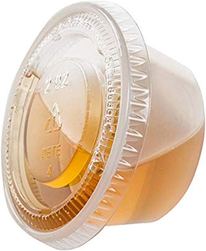 TashiBox 200 Sets Of 2 Ounce Disposable Plastic Jello Shot Cups With Lids Souffle Portion Container 2 Oz 200 Clear