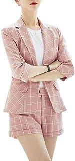 maweisong レディース格子縞カジュアルサマーオフィスブレザーとショーツ2ピースセット