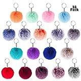 BTSD-home 18pcs Pom Pom Keychain Faux Rabbit Fur Fluffy Puff Ball Keychain for Women (Mix Colors)