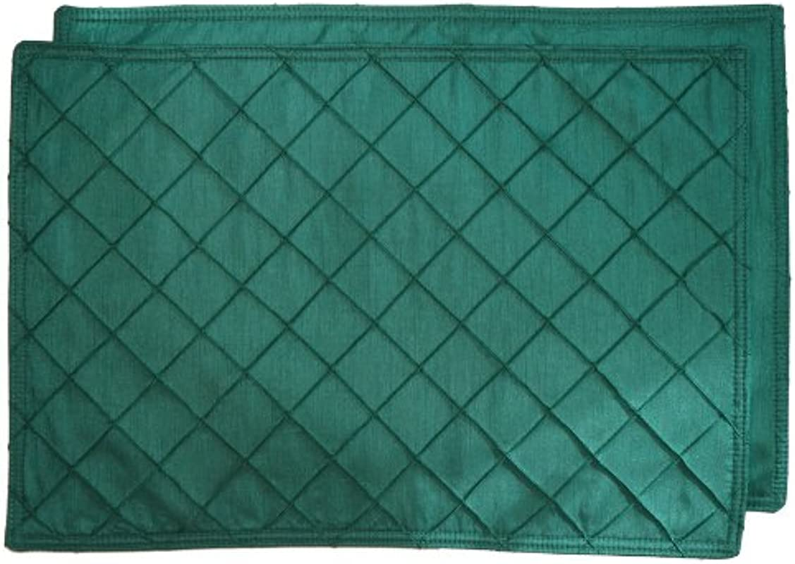 Sweet Pea Linens Set Of 2 Forest Green Pintucked Rectangle Placemats