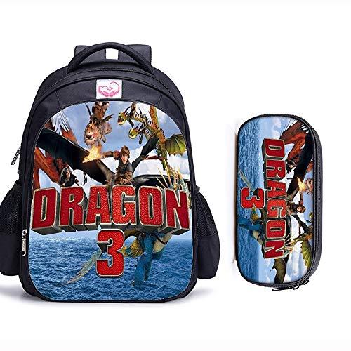 CHANGD 16 Pulgadas Cómo Entrenar a tu dragón ortopédicos Bolsos de Escuela de los niños Mochila niños y niñas los niños del Bolso de Escuela Mochila de Anime 3D (Color : 2pcs A, Size : 42x32x17cm)